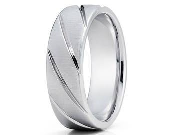 Simple Classic Groove White Gold Wedding Band 14k White Gold Wedding Ring Anniversary Ring Men & Women Comfort Fit Ring