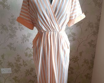 Vintage 1970s summer detailed stripe dress