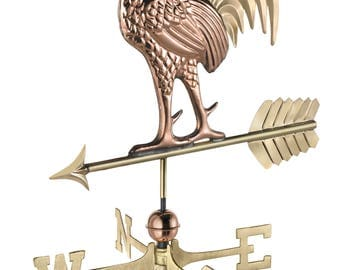 Proud Rooster Weathervane - Pure Copper & Brass
