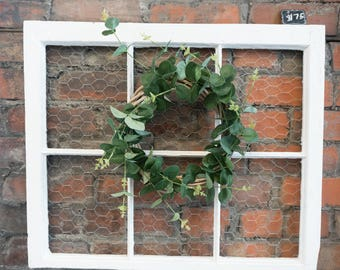 Vintage wooden window wall art with chicken wire and wreath