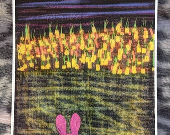 bunny and carrots postcard