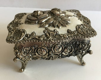Vintage Japanese Metal Jewelry Trinket Box, Ornate Silver Tone Roses and Sunflower Repousse 1940s