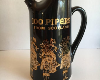 Vintage Seagram Scotch Whisky 100 Pipers from Scotland Black and Gold Bagpipe Pitcher