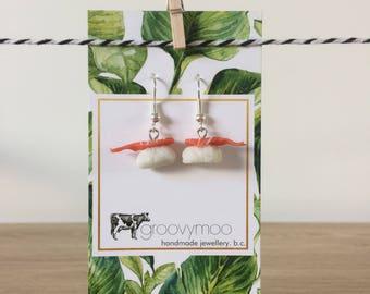 sushi prawn polymer clay earrings