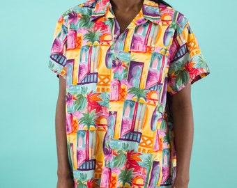 Vintage 90s, Cotton Shirt, 90s Clothing, Hawaiian Shirt, Spring Shirt, Floral Shirt, Summer Shirt, Hipster Shirt, Tropical Shirt, Vacation