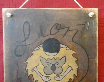 """Sign, door """"Leo"""" Zodiac wooden sign"""