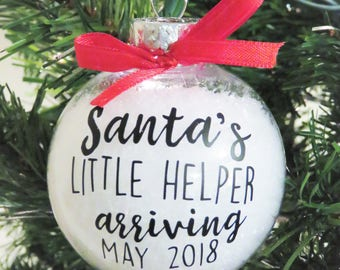 Pregnancy Announcement Christmas Ornament. Baby Announcement Ornament. Santa's Helper. Baby Ornament. New Baby Ornament. Pregnancy Mom Gift
