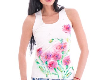 White hand painted cotton vest for women with flowers in fresh colours and sports back
