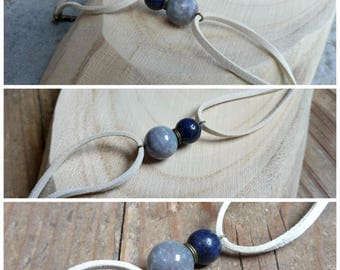 Infinity suede bracelet white off, blue faux stone glass bead