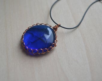 Dark Blue Cobalt Glass Cabochon Copper Wire Wrapped Pendant