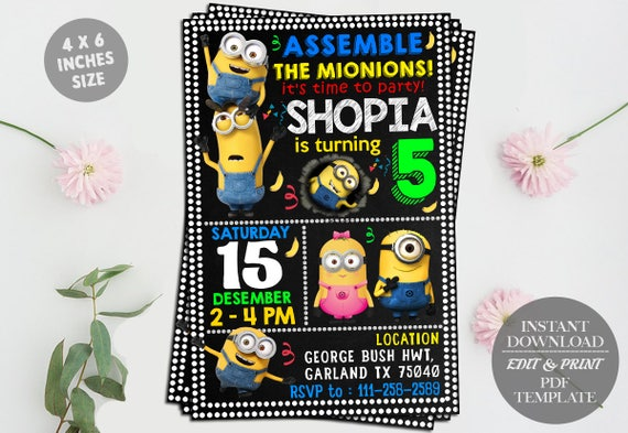 Minion Editable Birthday Invitation Template DIY Printable - Birthday invitation template minions