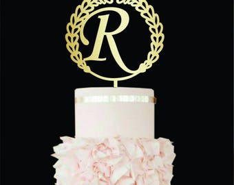 Wedding cake topper R Wood Monogram cake topper R Initial cake toppers Single letter R cake topper cake topper for wedding gold cake topper