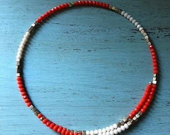 Orange & White beaded choker necklace
