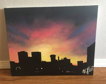Wichita skyline acrylic painting, canvas city painting, sunset canvas painting, sunset wall painting, silhouette skyline painting