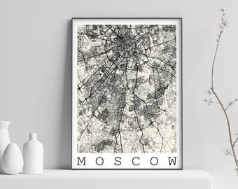 Map of MOSCOW, RUSSIA - Fits IKEA Frame, Map art, print, Poster Moskva