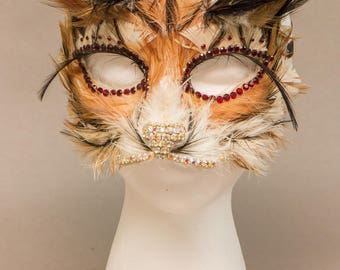 Hand Feathered Tiger Mask