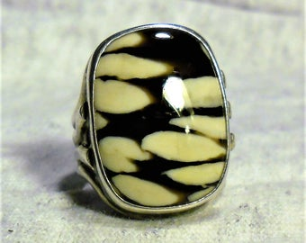Sterling Silver Stacked Jasper Ring (Signed) Size 5