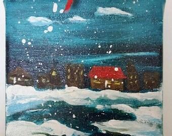 "Cozy Christmas#1 Original painting - Xmas tree ornament-  -4""x4"" acrylic painting on canvas"
