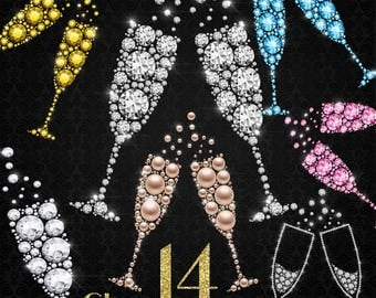Diamond Champagne Clipart, Pearl Champagne, Jewelry Champagne, New Year Celebration Party, Instant download, Commercial Use, Planner Clipart