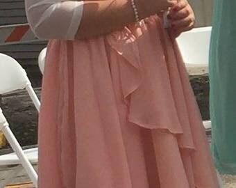 Girls formal dress, Jr 14, peach chiffon & satin