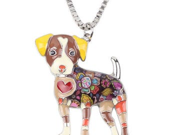 Brown JRT Jack Russell Terrier Pendant Necklace ~ Tattoo Necklace ~ Red Heart ~ Dog Jewelry