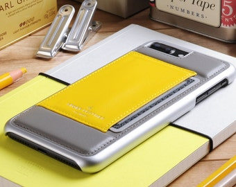 Apple iPhone 7 Plus / iPhone 8 Plus Genuine Leather Phone Case With Pocket for Credit Card in Gray and Yellow Calfskin Leather