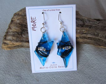 Earrings turquoise blue transparent glass with glass and metal beads