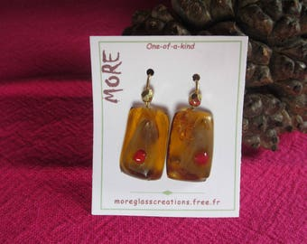 Amber and bronze glass earrings with red-iridescent