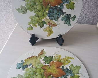 Set of 2 Pimpernel Vintage Circular Cork Placemats with Grapes and Leaves