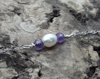 Amethyst and  Pearl Sterling Silver Necklace/Amethyst and Freshwater Pearl Necklace/Wedding Jewelry/February Birthstone/June Birthstone