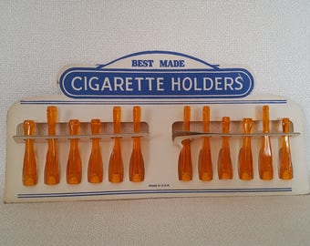 Vintage Best Made Cigarette Holders in Store Display - NOS Set of 12