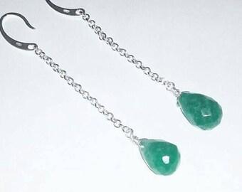 Silver Earrings 925 Natural gemstones Aventurina green and emerald at Gocia