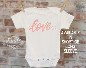 Love in Script Onesie®, Watercolor Onesie, Cute Baby Bodysuit, Cute Onesie, Boho Baby Onesie, Girl Onesie - 213L