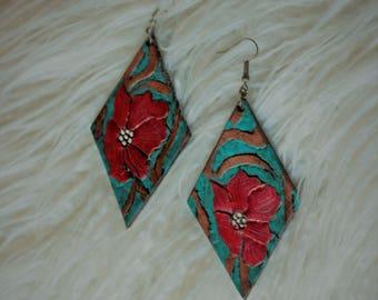 Denise Crimson Flower & Natural Vine Earrings | Leather Earrings | Birthday Gift | Anniversary | Gifts under 25 | Handmade | Gifts for Her