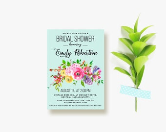 Teal Bridal Shower Invitations Summer Floral Bridal Shower Invite Printable Template Wedding Shower Party Bridal Brunch Turquoise Invitation