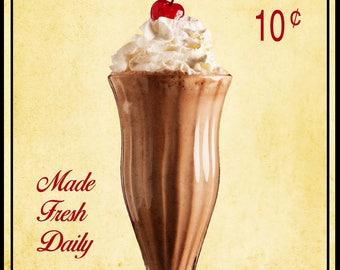 Retro milkshake print, Chocolate milkshake photo, vintage, Malt shop photo, Kitchen decor, Food Photography, Printable download, wall art