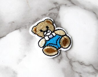 ONE Cute Blue Teddy Bear Iron On Patch, Baby Shower Fabric Patch, Embroidered Patch, Free Spirit, Birthday Gift For Her Under 5, It's A Boy