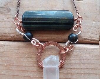 Tiger Eye Necklace, Quartz Crystal, Tiger Eye Jewelry, Tiger Eye Pendant, Gemstone Necklace, Amulet Necklace, Pendant Necklace