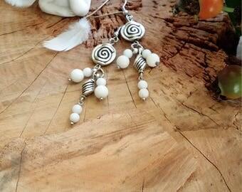 Boucles d'oreilles en jade blanc véritable (très belle qualité) Par AngelS SignS.