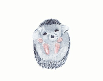 Hedgehog Watercolor PRINT - Baby Hedgehog, Headgehog Painting, Hedgehog Decor, Hedgehog, Hedgehog Baby, Nursery Decor, Watercolor Print