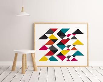 Lamina sendero geométrico, Lamina decorativa, Cuadros modernos, Impresión digital, arte abstracto