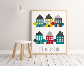 Lamina Hello London, decorative sheet, modern paintings, prints Duvet, digital printing. Prints Kids. Wall Art Kids. Digital Download