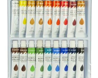 Brand New Set 18 Color Acrylic Paint Set 12 ml Tubes Artist Draw Painting Rainbow Pigment