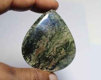 Natural Moss agate loose gemstone, Moss agate gemstone, Natural Moss agate cabochon gemstone, Moss agate loose stone [52x44]101 Cts. #1191