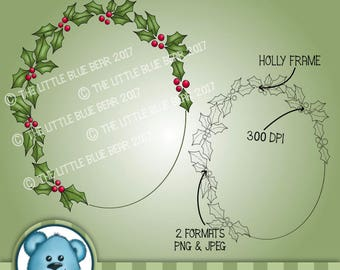 INSTANT DOWNLOAD - Digital Digi Stamp - Holly Frame