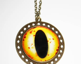 Eye Necklace Yellow Dragon Eyeball Bronze Metal Chain Occult Steampunk Goth Gothic Unusual Alternative Witch Demon