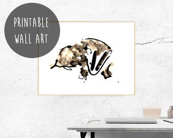 Printable Wall Art, Cute Badger Nursery Print, Badger Illustration, Watercolor, Baby Animals Nursery, British Badger, Nature Lover Gift.