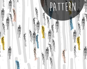 Instant Digital Download, Printable Paper, Skeleton Pattern, Anatomy Print, Modern Scrapbook Paper, Abstract Pattern, Hipster Print, Bones.