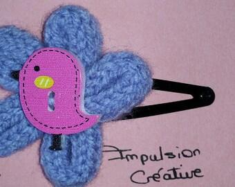 Clips hair clips clips Fleur Laine and bird wood hair girl customizable