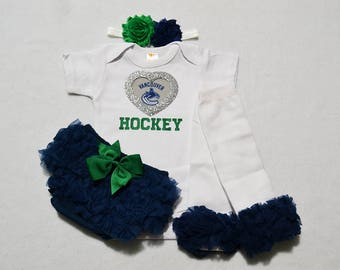 vancouver canucks baby girl outfit - baby girls vancouver canucks outfit -  baby girl vancouver canucks hockey - canucks baby girl hockey